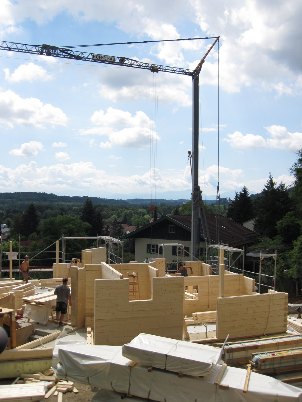 One of Chiemgauer Holzhaus timber houses going up in the summer of 2016