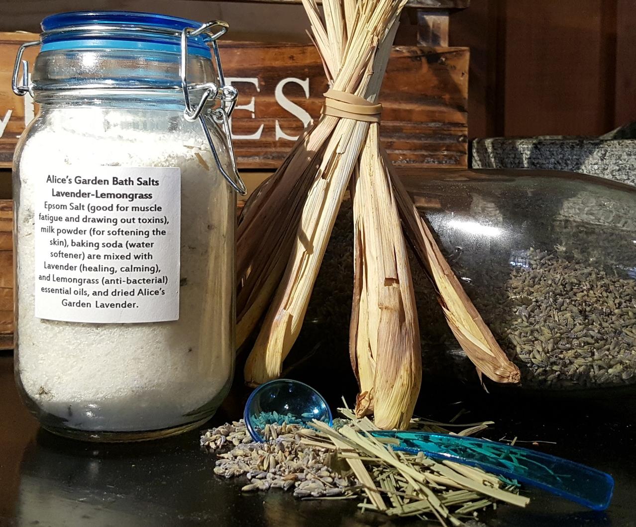 Lavender-Lemongrass Bath Salts(8oz) — Alice's Garden Urban Farm