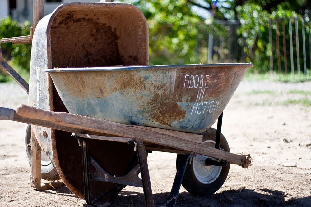 Wheelbarrows from our tool lending library.