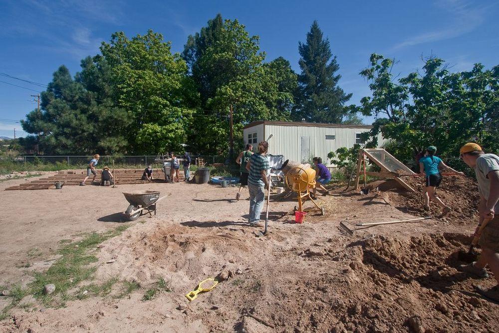 Adobe in Action owner builder site in Española, NM.