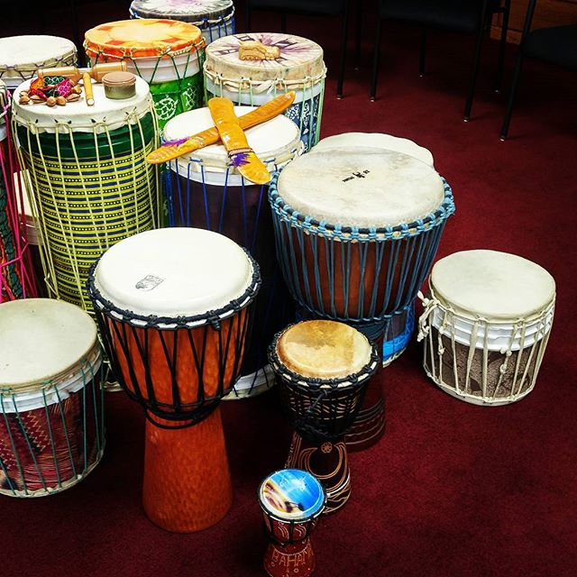 Set up at Wesley Willows - Drumming for Wellnes with older adults! More photos to come soon ....