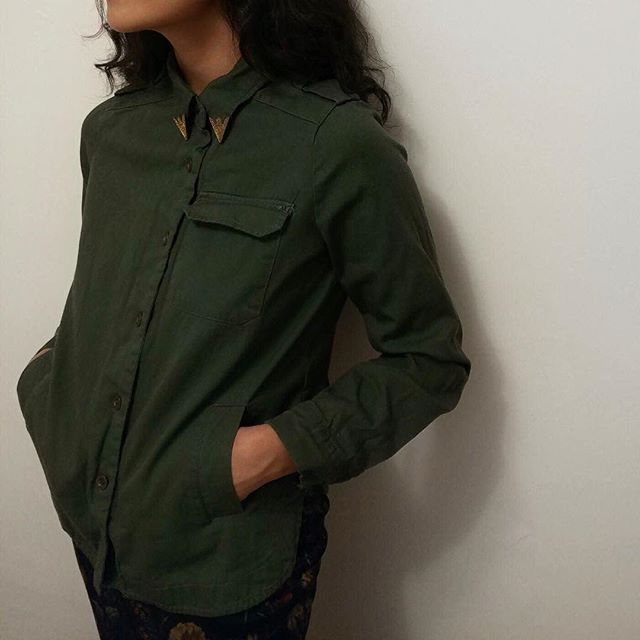 Overshirt/jacket with gold collar detail | size S | SOLD