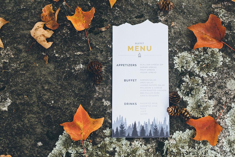 BBQ buffet style wedding menu. Forest wedding menu design. Mountain and forest DIY wedding.