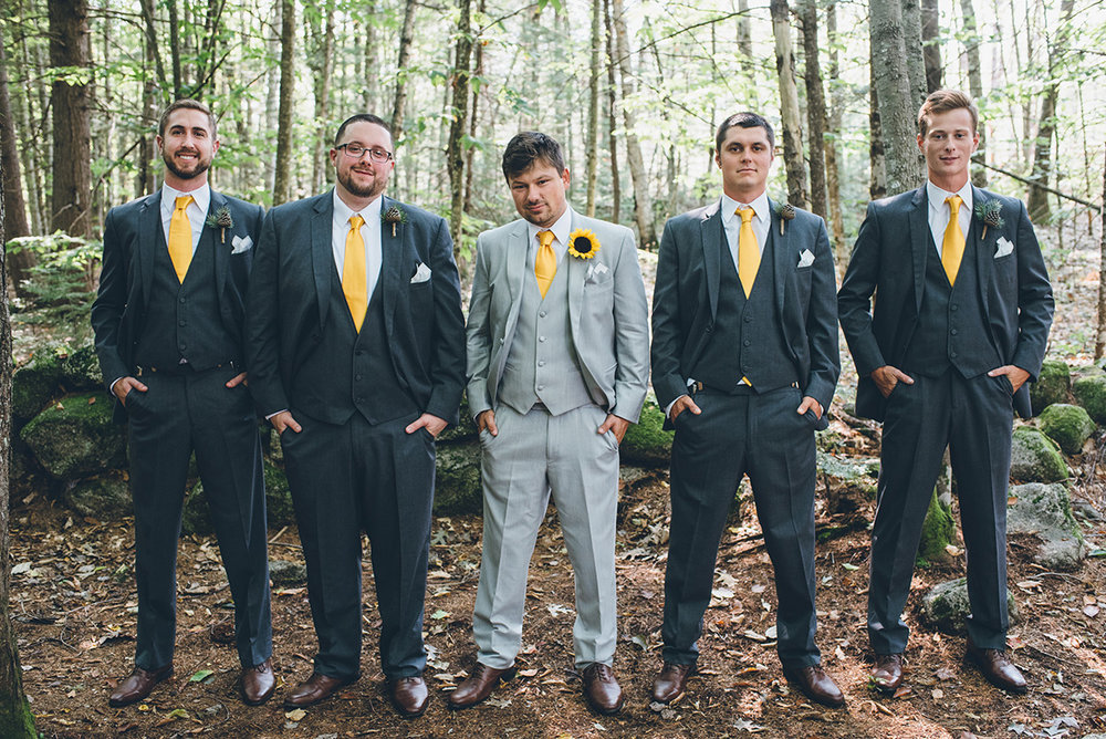 Yellow and gray groomsmen.Mountain and forest DIY wedding.