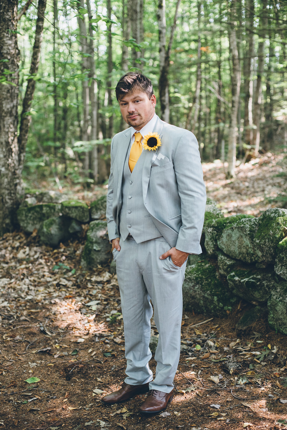 Yellow and gray groom. Mountain and forest DIY wedding.