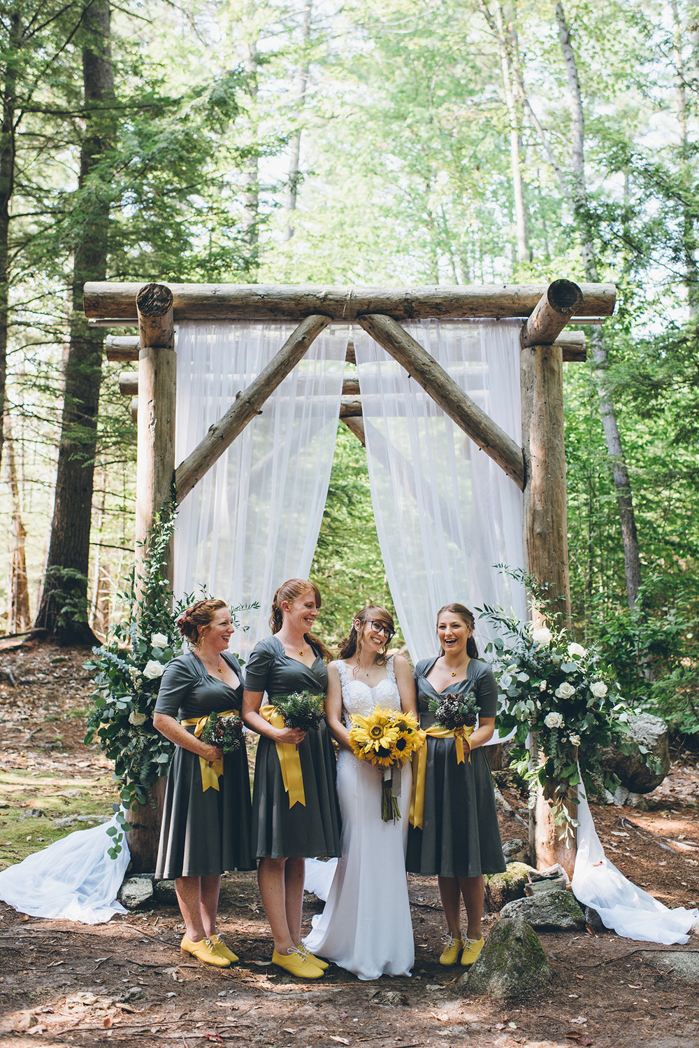 Yellow and gray bridal party. Mountain and forest DIY wedding.