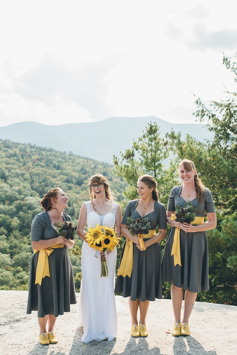Yellow bridesmaids shoes.Mountain and forest DIY wedding.
