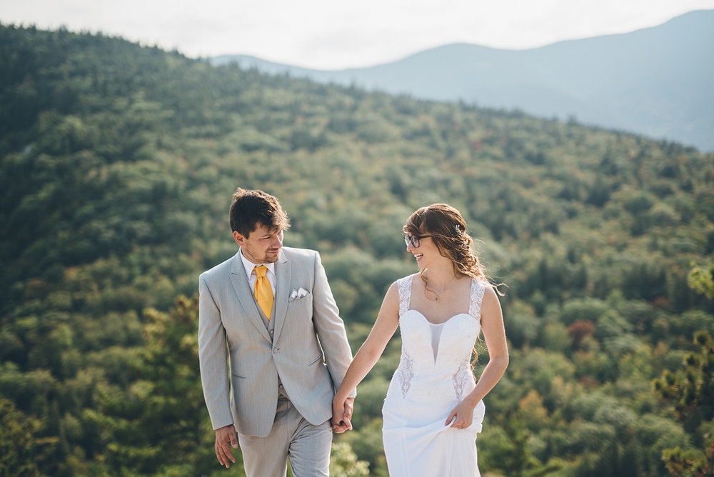 Yellow and gray bride and groom