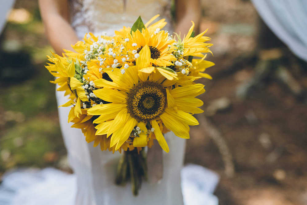 Sunflower and baby's breath bride bouquet.Mountain and forest DIY wedding.