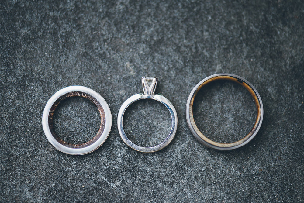 Birch tree wedding bands with the inner bands lined with a tree from our land.Mountain and forest DIY wedding.