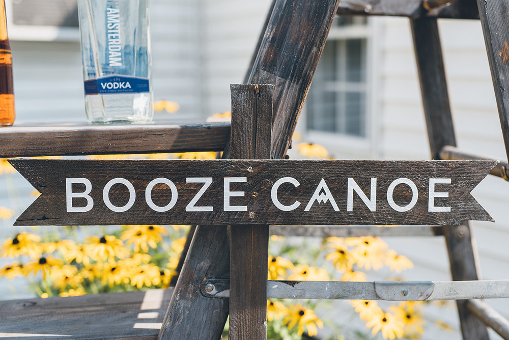 Booze canoe DIY sign. Mountain and forest DIY wedding.