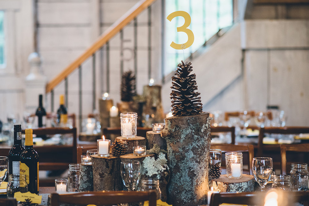 Wood logs and pinecone centerpieces. Forest wedding centerpieces. Mountain and forest DIY wedding.