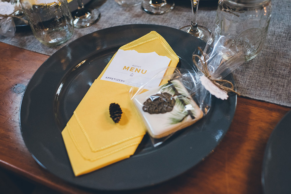 Gray and yellow wedding table setting.Mountain and forest DIY wedding.
