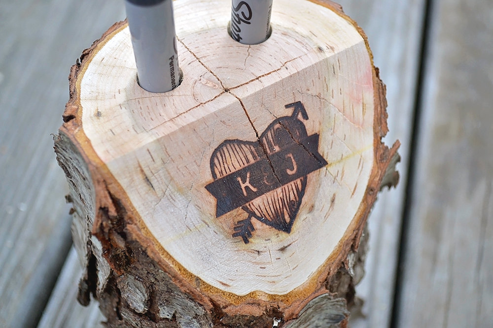 Log guestbook sharpie holder.Canvas guestbook illustration. Alternative guestbook.Mountain and forest DIY wedding.