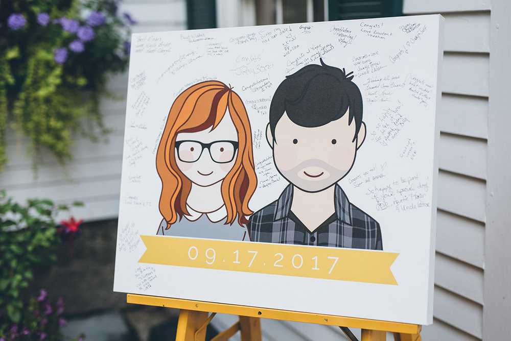 Canvas guestbook illustration. Alternative guestbook. Mountain and forest DIY wedding.