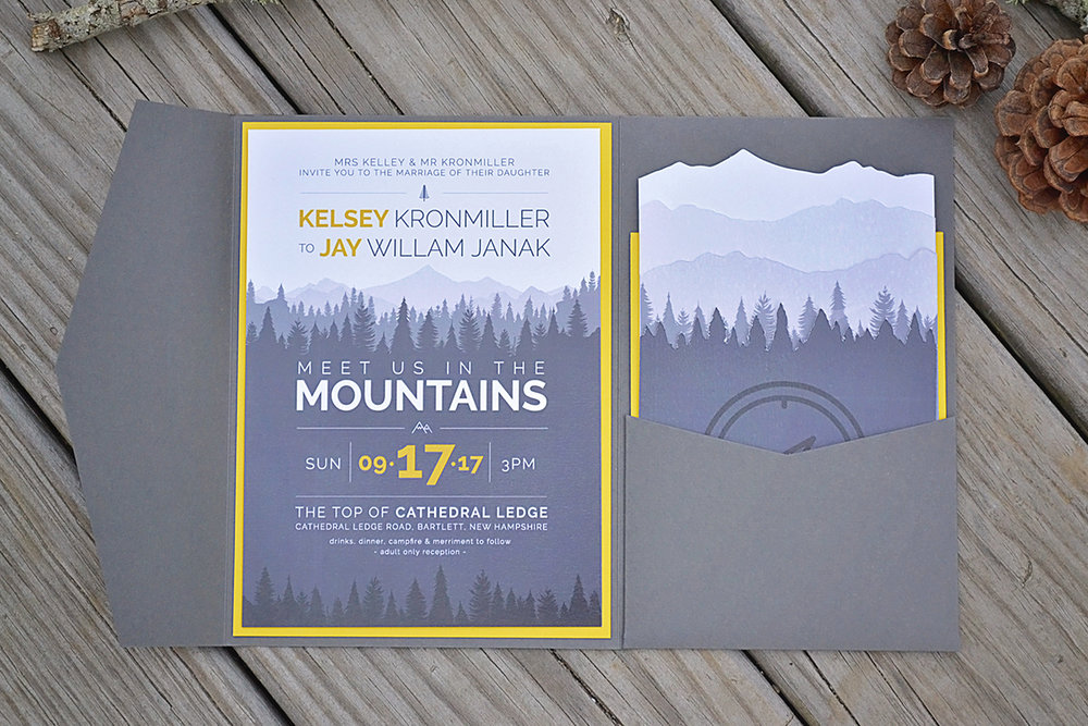 Mountain and forest wedding invitations