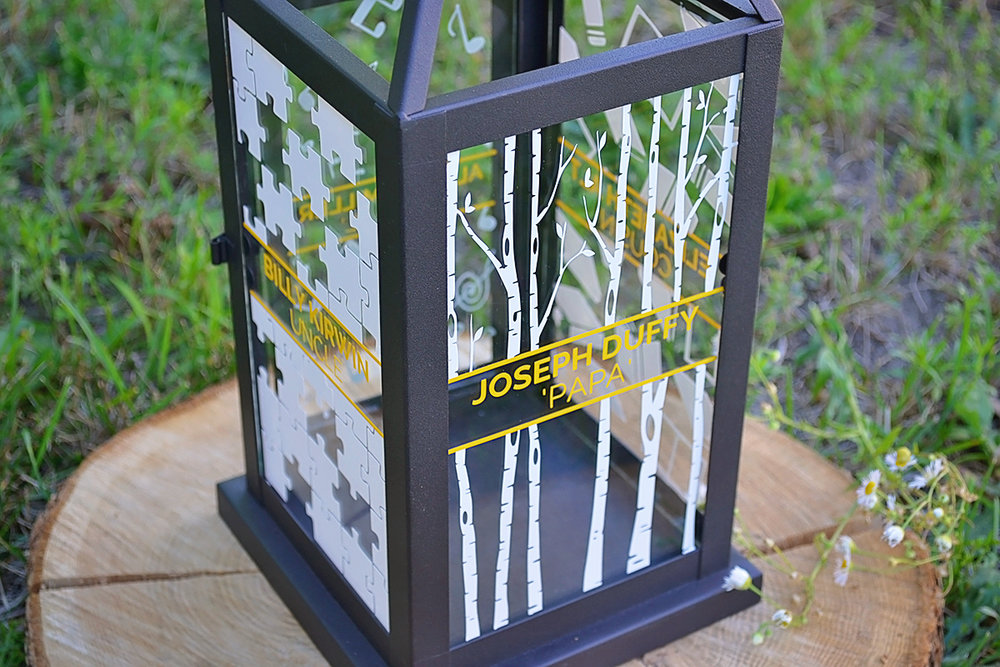Wedding memorial lantern. Mountain and forest DIY wedding.
