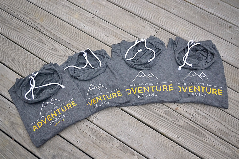 And so the adventure begins bridesmaids hoodies. Getting ready bridesmaids hoodies. Gray and yellow wedding. Mountain and forest DIY wedding.