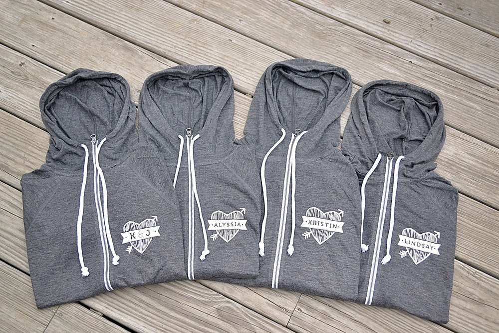Getting ready bridesmaids hoodies. Gray and yellow wedding. Mountain and forest DIY wedding.
