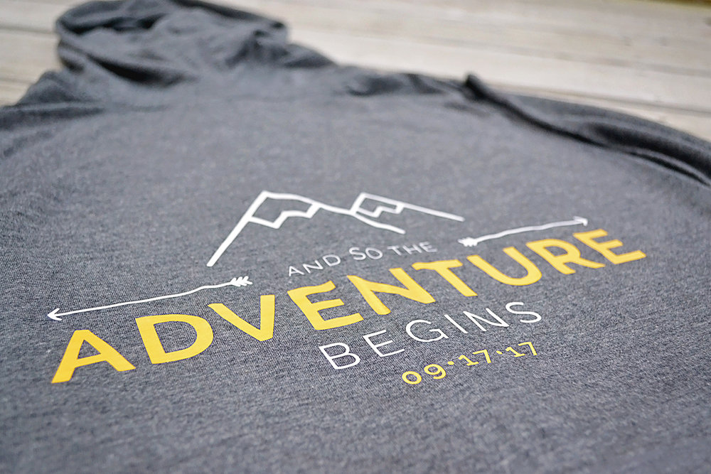 And so the adventure begins. Getting ready bridesmaids hoodies. Gray and yellow wedding. Mountain and forest DIY wedding.