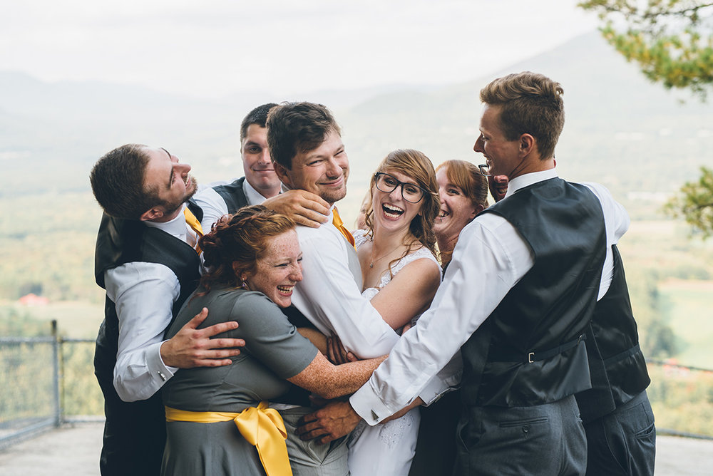 Gray and yellow groomsmen. Mountain and forest DIY wedding. Wedding glasses. Bride wearing glasses.