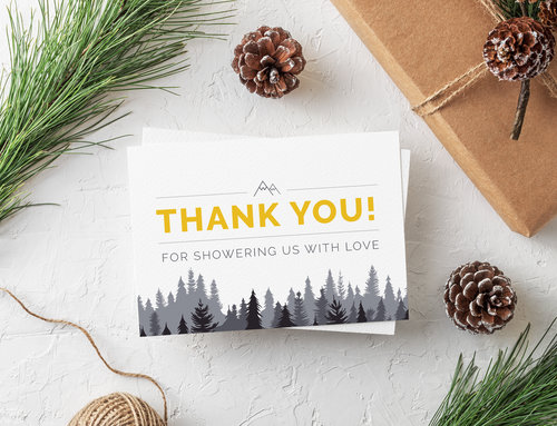 Mountain & Forest Wedding Shower Thank You Card Design 5.5\