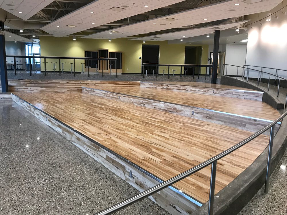 Rotunda Installation - 2nd or better Maple flooring with Brushed Stainless Steel