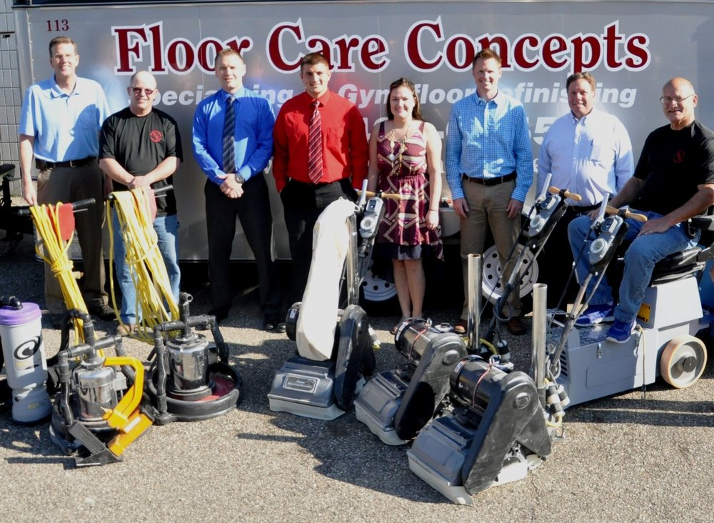 Floor Care Concepts (FCC) was founded by a team of energetic and experienced partners with the mission of making facilities and flooring perform to their full potential. The Floor Care Concepts method of sports floor refinishing is unique in that it optimizes both performance and longevity of the floor, creating a win-win situation for athletes and facilities directors. Floor Care Concepts currently provides custom finishing solutions for over 200 school districts every year (reference portfolio available). FCC is also a full service distributor of many products that keep facilities in top condition. Floor Care Concepts values all of its customers, and strives to maintain a reputation for integrity, expedience, accuracy, and value.   The Floor Care Concepts team has a combined experience of over 100 years in the industry, and are as follows:
