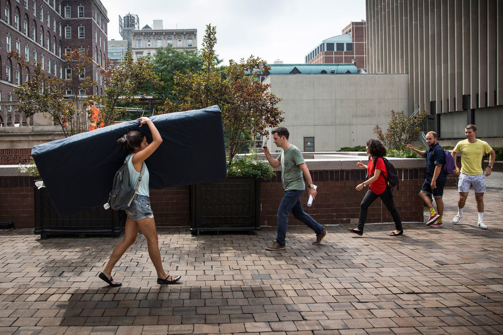 Emma Sulkowicz's protest of sexual assault at Columbia. (Andrew Burton/Getty)