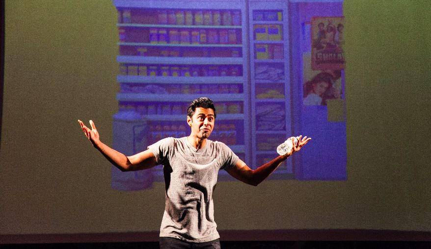 Minhaj onstage at The Cherry Lane Theater. (Andrew Kist)