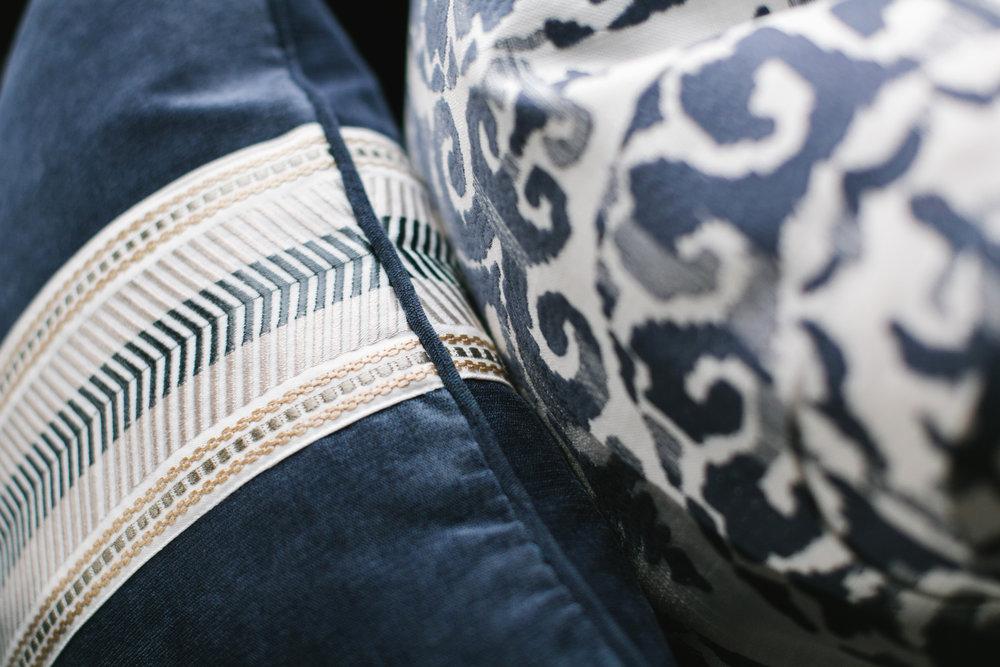 Detail of custom pillows