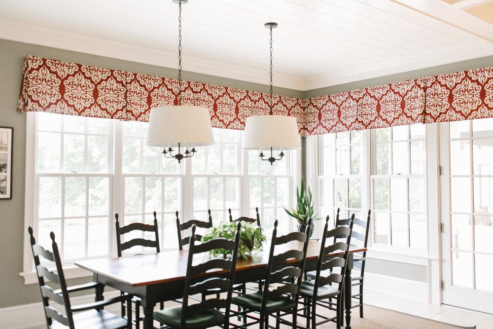 Interior design window treatments in a home