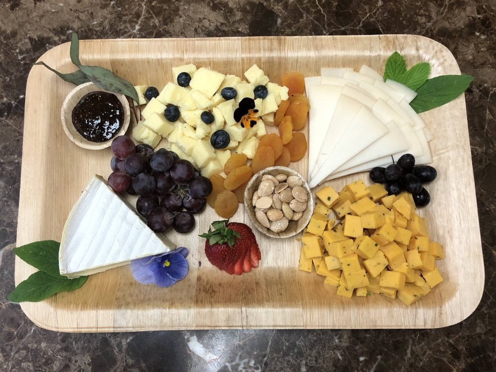 Large Cheese Plate - $ 58.00 - 4-5 select cheese, nuts, fruits, fig preserve & mixed greens