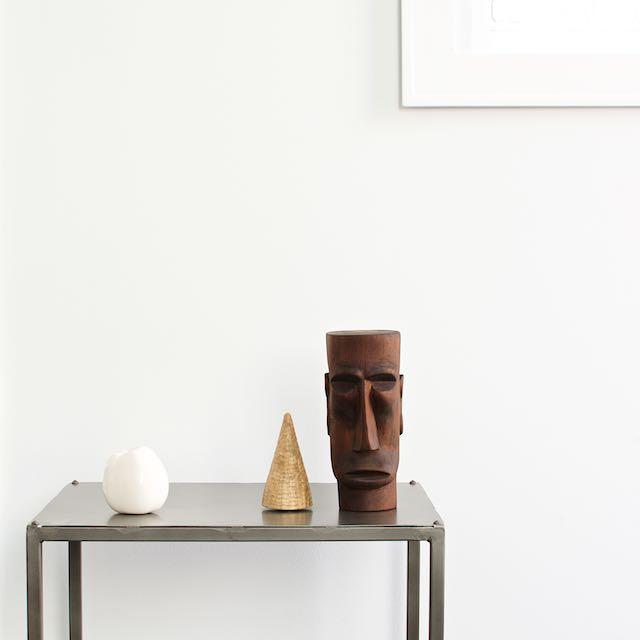 Wooden man-face $2.99, ceramic apple $0.99, wooden tree $0.99