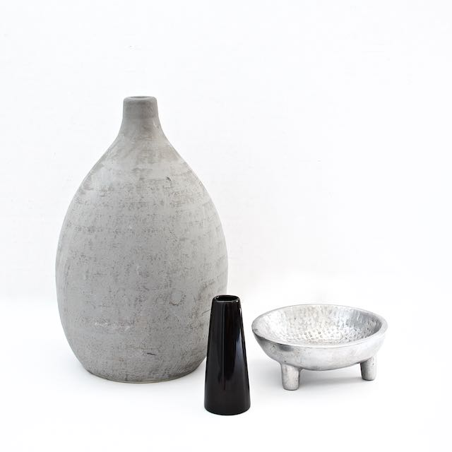 Big vase (vintage IKEA) $3.99, small vase $0.99, metal dish (can be used for putting away rings/watches) $2.99