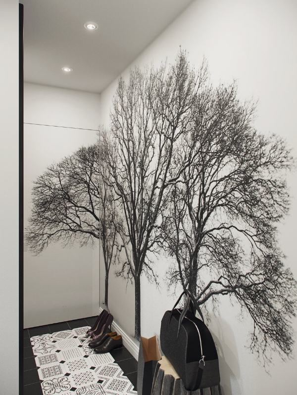 Black and white hallway design
