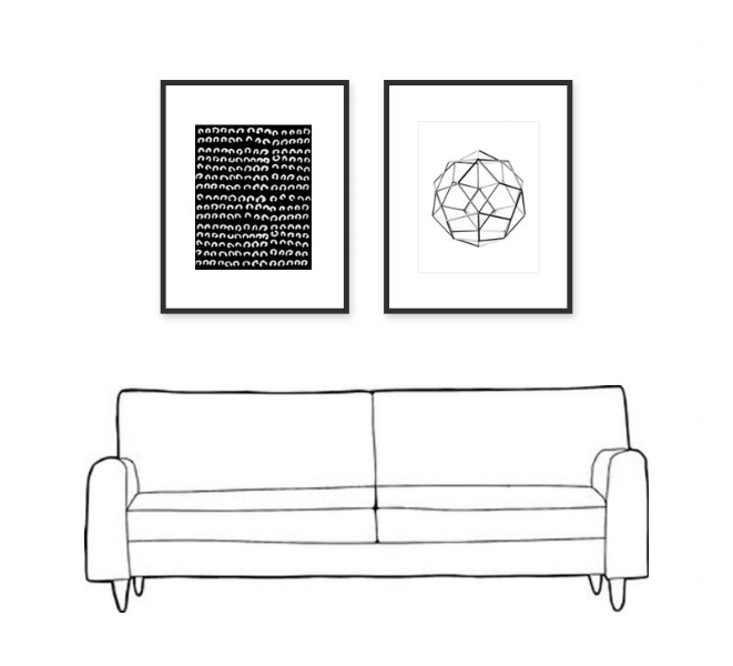 How to hang pictures above sofa