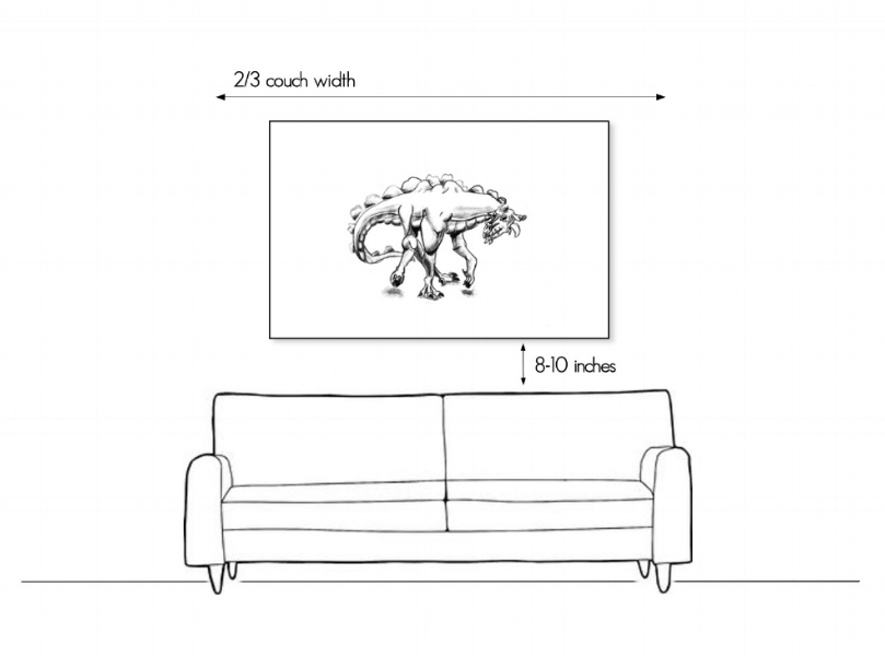 How to hang art above the sofa