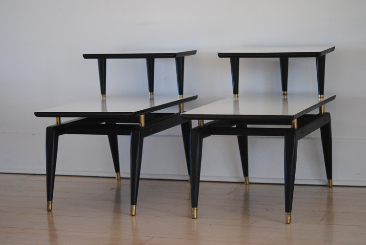 Mid century white and black end tables
