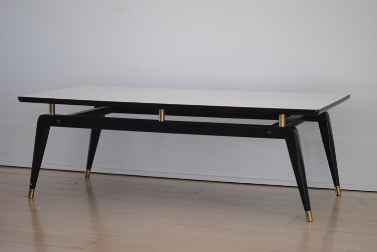 Mid century white and black coffee table