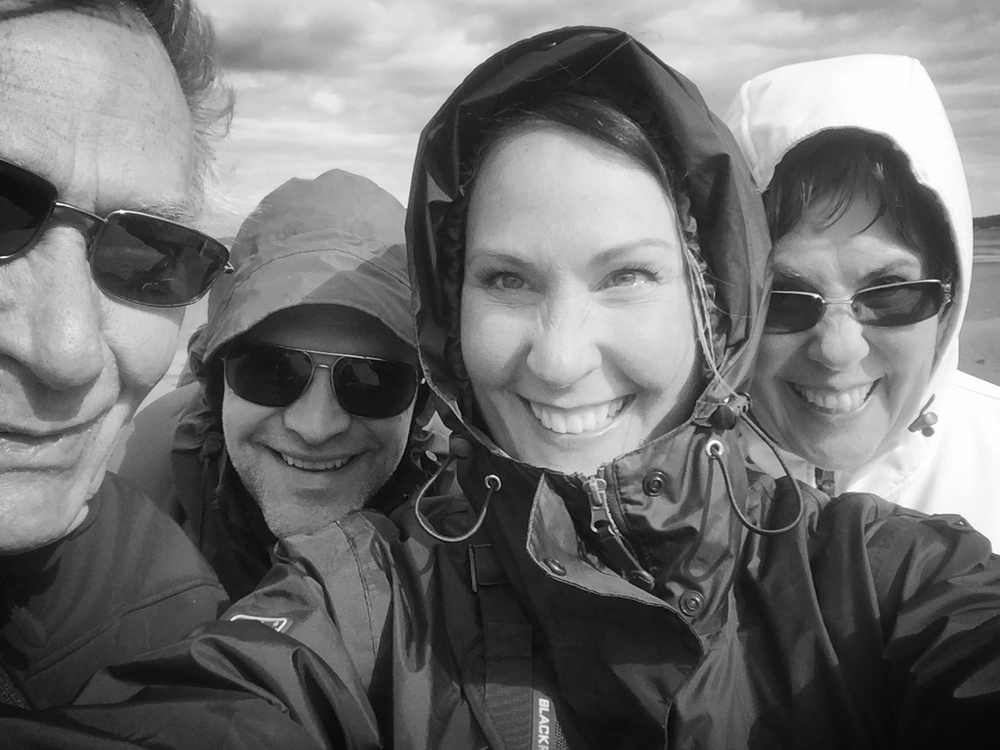 Vacation selfies out on the ocean low tide, Parksvillle British Columbia