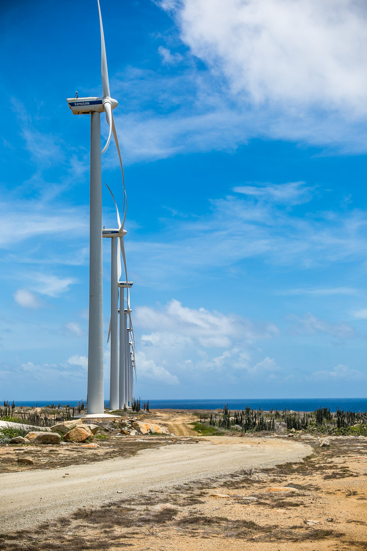 Giant wind turbines along the coast line  Aruba