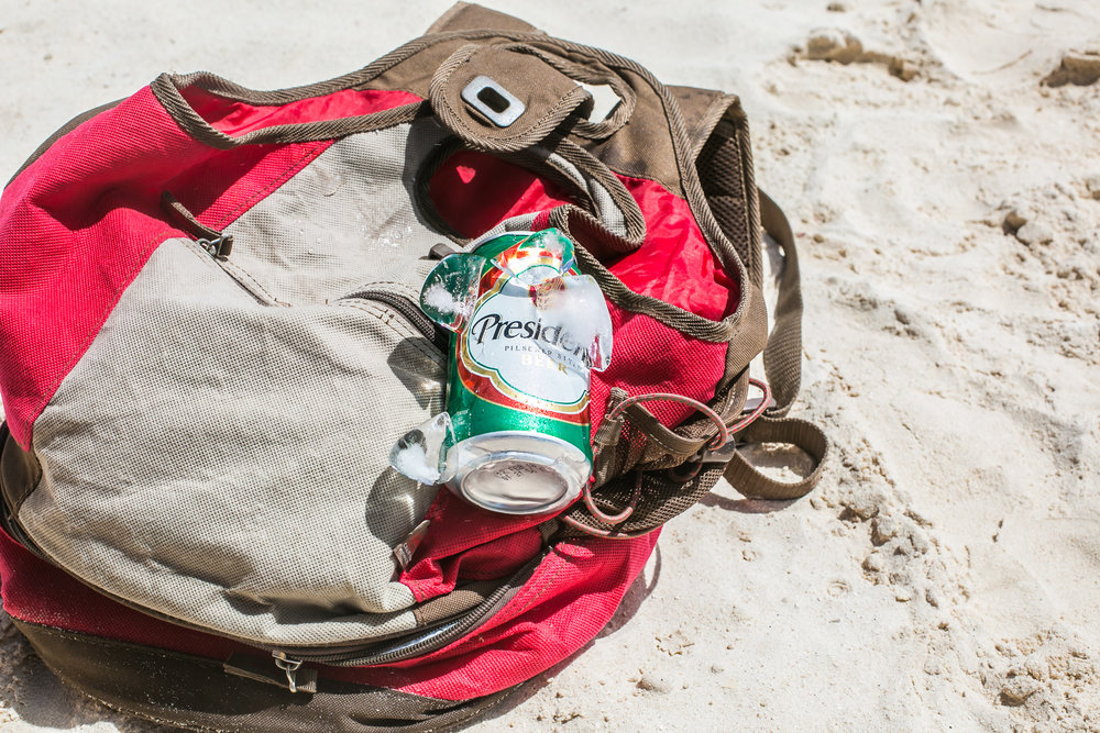 Ice Cold Presidente  This beach backpack/beer transport vessel has seen many beautiful beaches