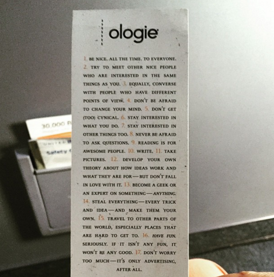 We spoke at, and made friends with, Ologie, who made these lovely bookmarks out of the epilogue of Paid Attention.
