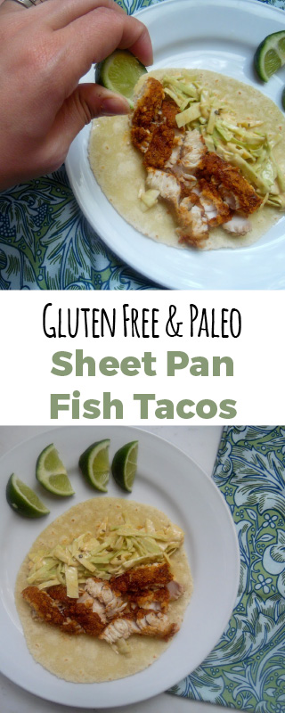 These fish tacos are oven baked, making for an easy dinner recipe. The fish tacos are gluten free and paleo. This sheet pan dinner takes thirty minutes to cook.