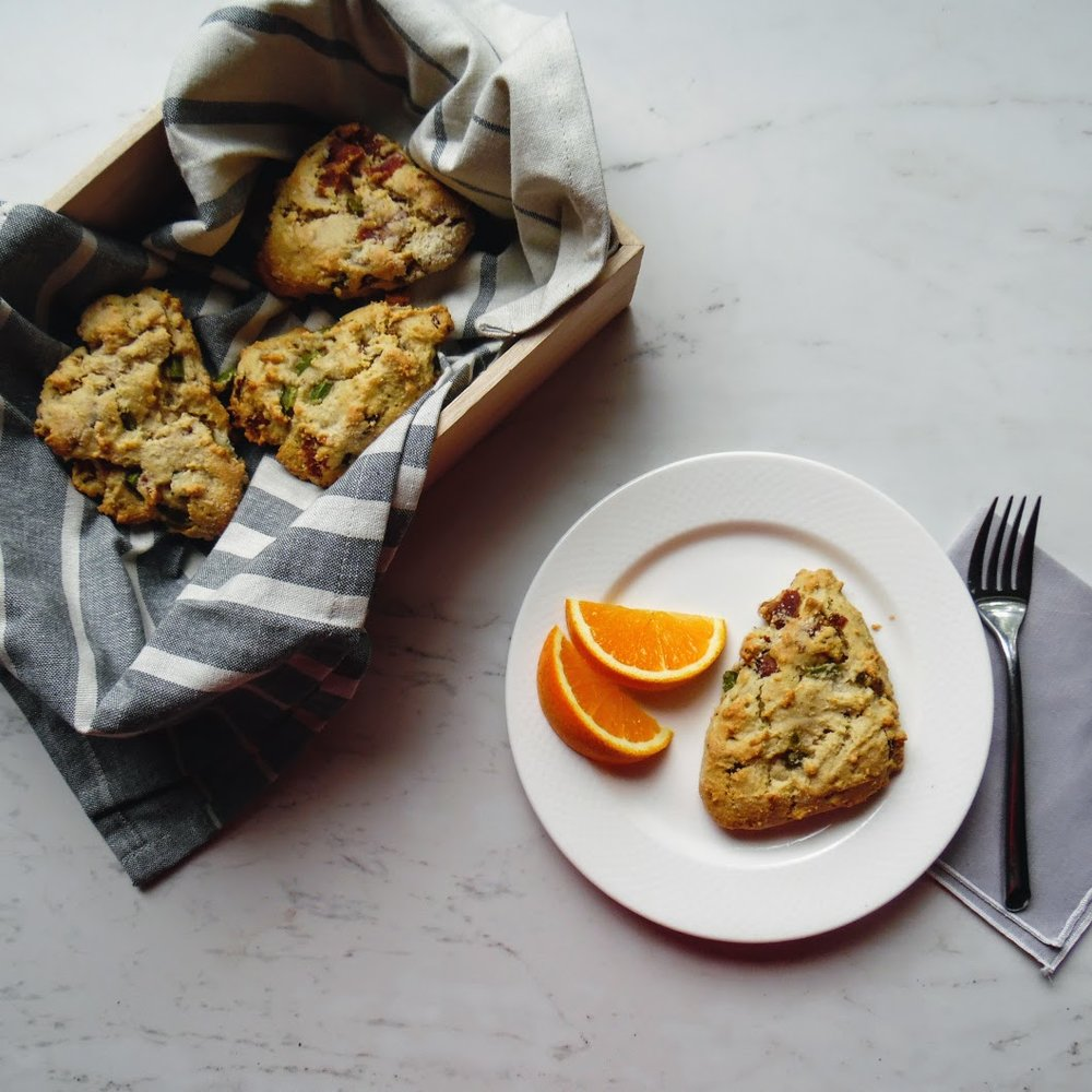 paleo breakfast scones with jalapeno and bacon, christmas morning breakfast tradition