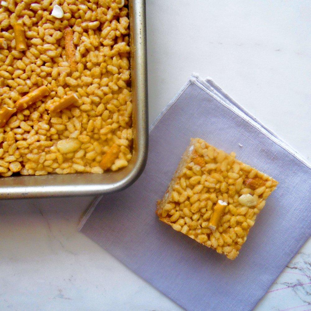 Cashew, caramel, pretzel rice crispy treats.
