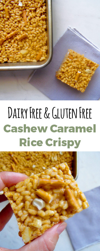 Rice crispy treat made with cashew butter, caramel, and crunchy pretzels. It is a healthy alternative to the norm. #glutenfree and #dairyfree