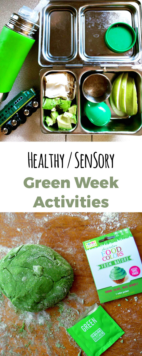 A whole week of activities to teach your toddler the color green. Including healthy food, recipes, sensory activities and crafts.
