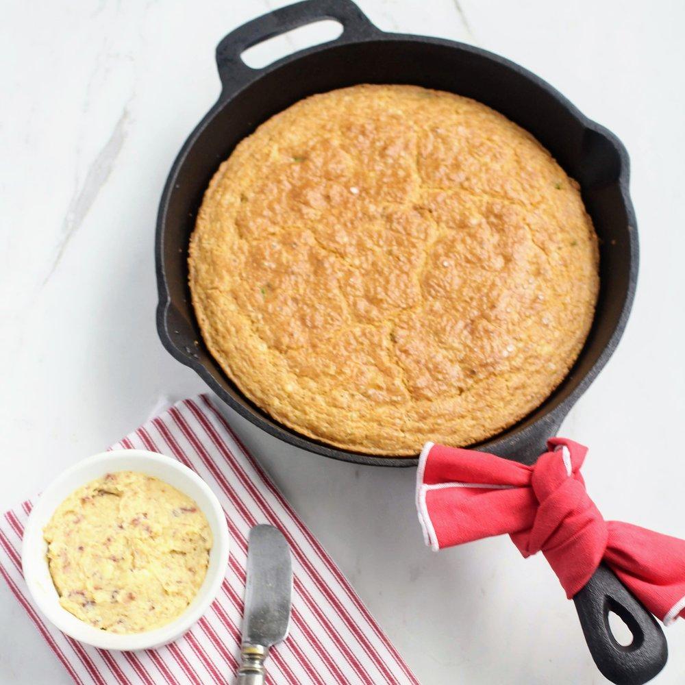 Dairy free and gluten free jalapeno buttermilk cornbread.